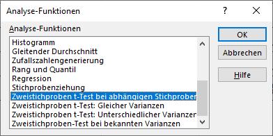 excel t-Test