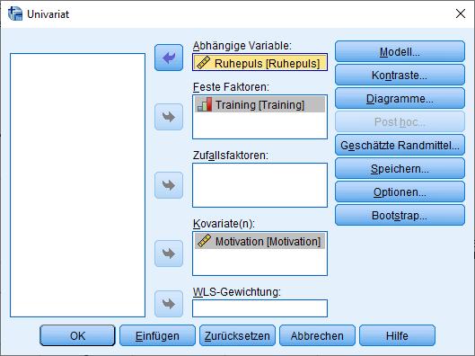 ANCOVA - Dialogfeld