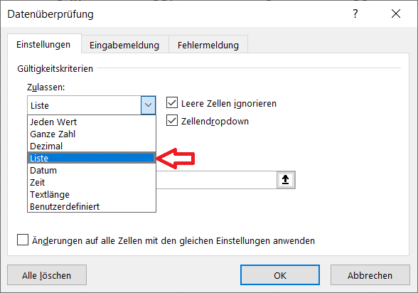 Dropdown Liste anlegen Excel