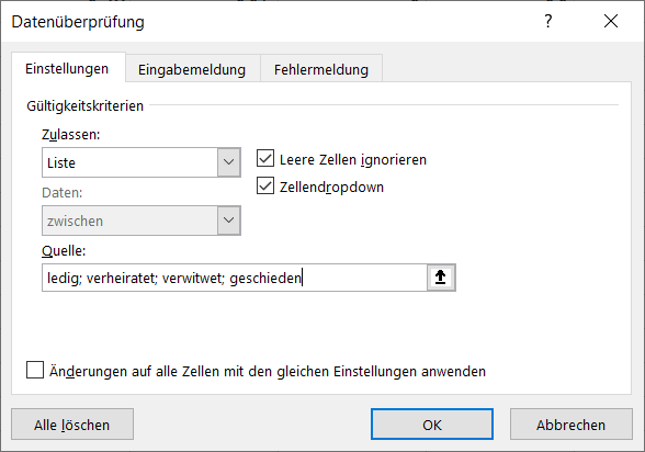 Dropdown-Liste anlegen