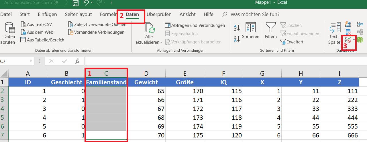 Dropdown in Excel anlegen