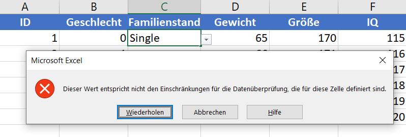 Dropdown Excel Fehler