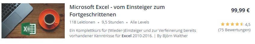 Excel -Kurs auf Udemy
