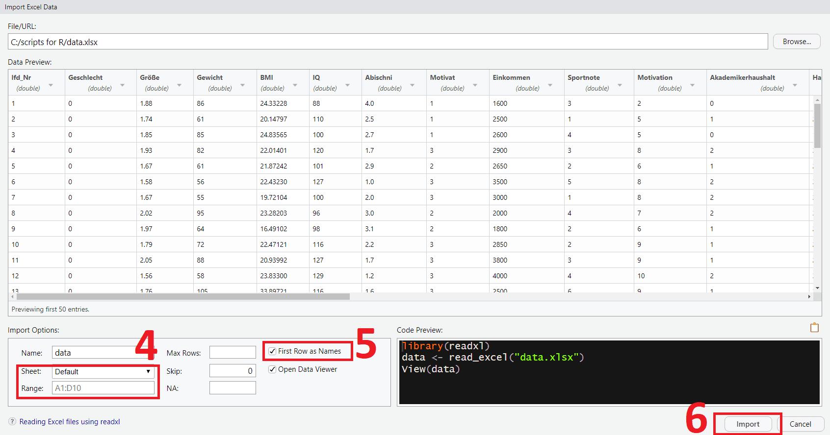 RStudio Datenimport Assistent