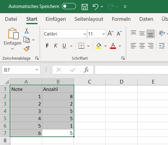 Kreisdiagramm Excel Daten