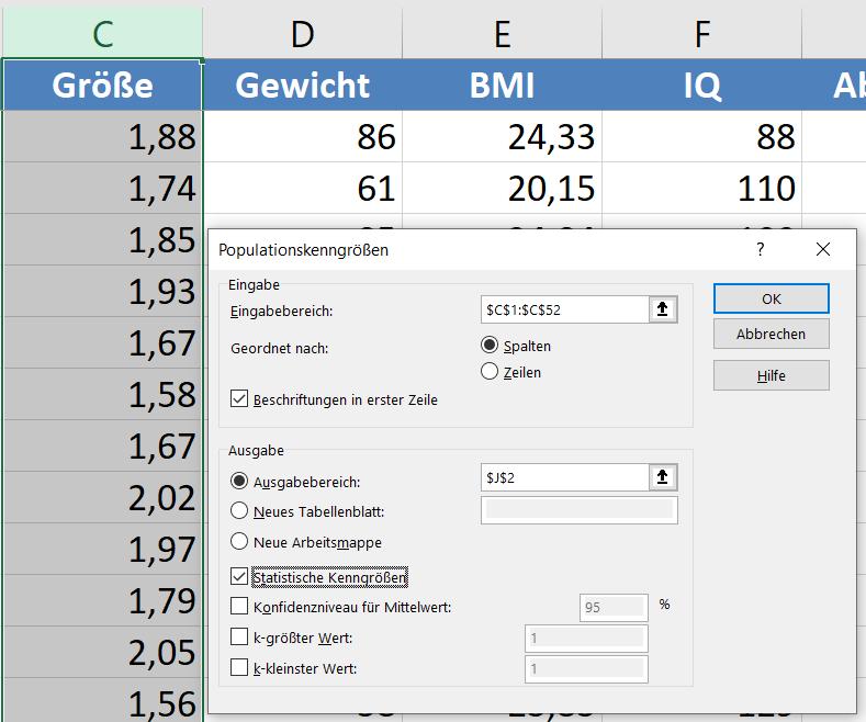 Deskriptive Statistik Excel