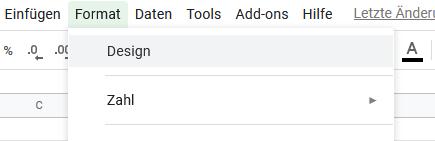 Google Tabellen Designs