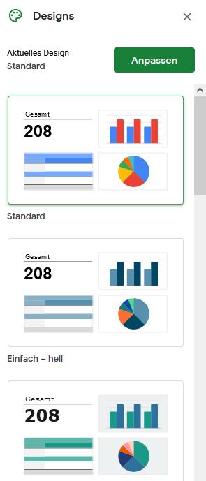 Google Tabellen Designvorlagen