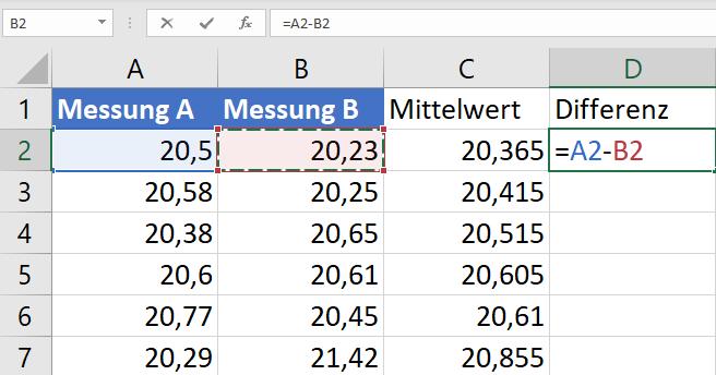 Differenz Excel