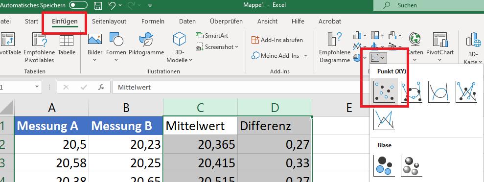 Streudiagramm Excel